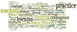 The 15 Standards for Excellent Teachers as a wordle.